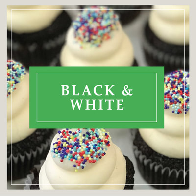 A Black & White cupcake at Cupcake DownSouth, a dessert bakery in Charleston, SC and Columbia, SC