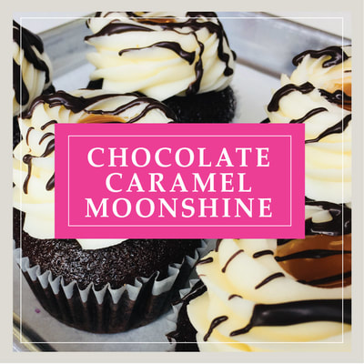 The Chocolate Caramel Moonshine cupcake, an After Dark alcohol-infused cupcake, at Cupcake DownSouth, a dessert bakery in Charleston, SC and Columbia, SC