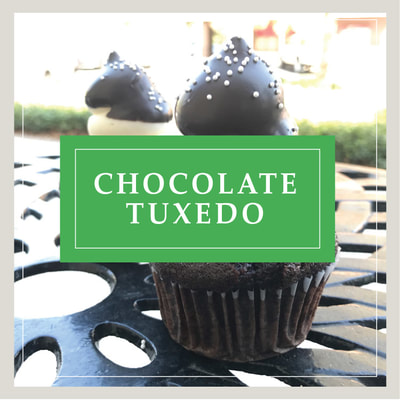 The Chocolate Tuxedo cupcake at Cupcake DownSouth, a dessert bakery in Charleston, SC and Columbia, SC