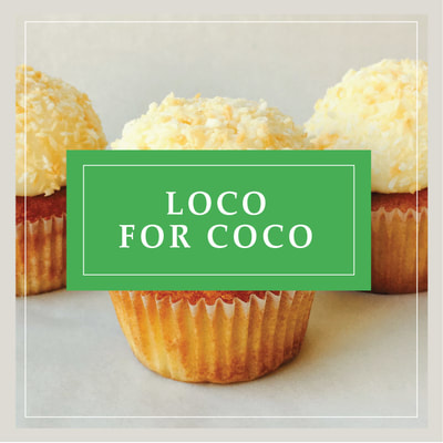 The Loco for Coco coconut cupcake at Cupcake DownSouth, a dessert bakery in Charleston, SC and Columbia, SC