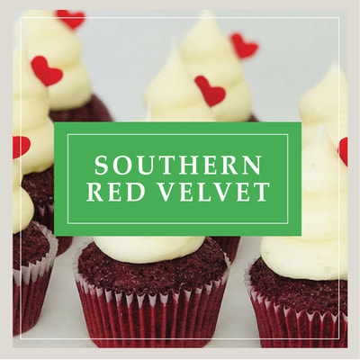 A Southern Red Velvet cupcake at Cupcake DownSouth, a dessert bakery in Charleston, SC and Columbia, SC